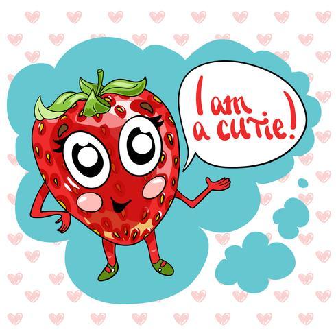 Hand, die netten süßen Erdbeerillustrationsvektor zeichnet.