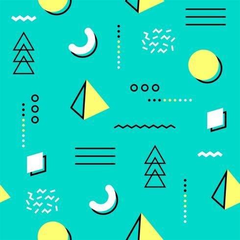 Patrón sin fisuras de Memphis colorido. Patrón geométrico sin fisuras diferentes formas de moda estilo de los años 80-90. Ilustración vectorial