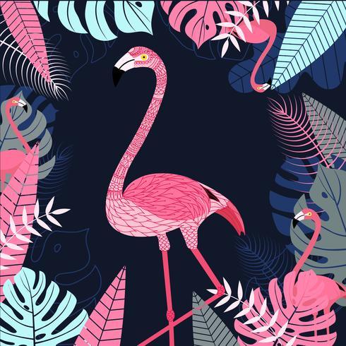 Pájaro del flamenco con la hoja y el fondo tropical. Fondo de la fauna para la impresión y diseño de banner web. Ilustración vectorial