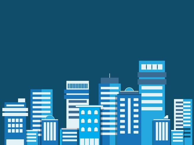 Cityscape background. Buildings flate style cityscape. Modern architecture. Urban landscape. Horizontal banner with megapolis panorama. Vector illustration. copy space for text.
