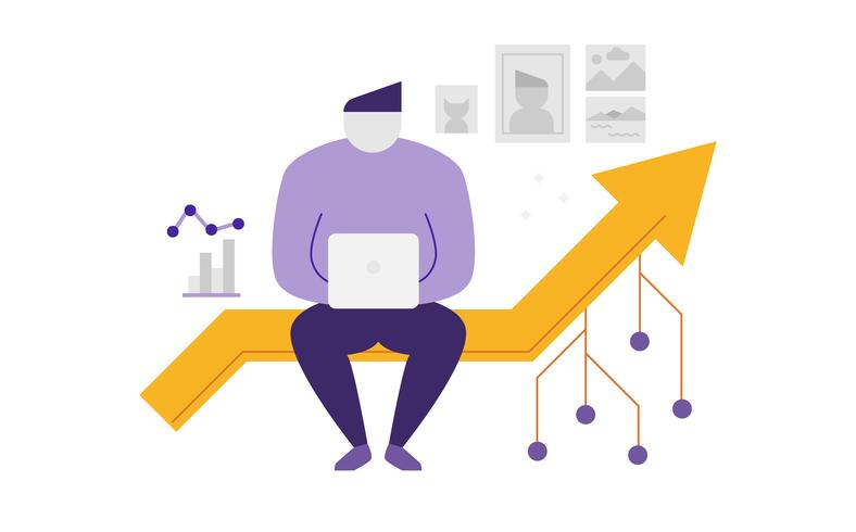 Abstract man sitting on a line graph