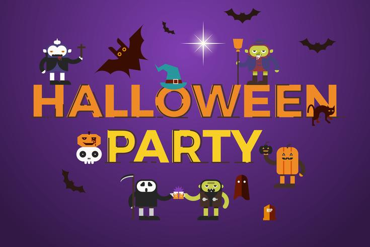 Diseño de la palabra fiesta de Halloween vector