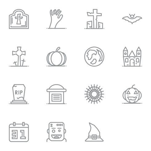 Icono lineal de halloween. Conjunto de pictogramas de los iconos de línea delgada.