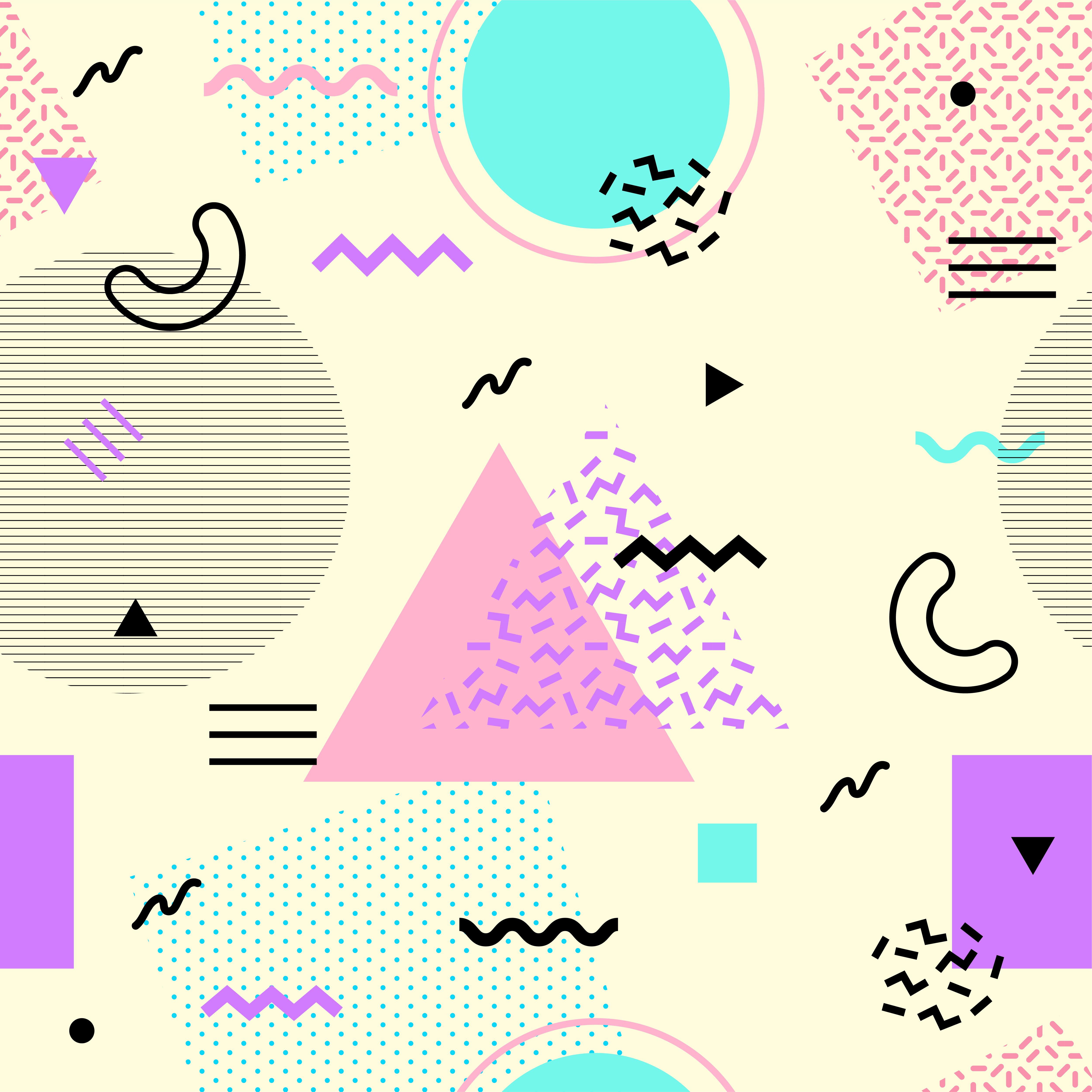 memphis seamless pattern colorful geometric seamless pattern  shapes fashion