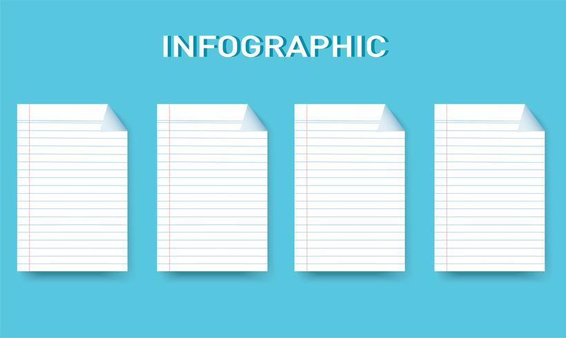 Papierlinie quadratische Informationsgraphik Vektorschablone mit 4 Wahlen. Kann für Web-, Diagramm-, Grafik-, Präsentations-, Diagramm-, Berichts-, Schritt-für-Schritt-Infografiken verwendet werden. Abstrakter Hintergrund
