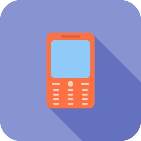 Icono de teléfono móvil larga sombra plana vector