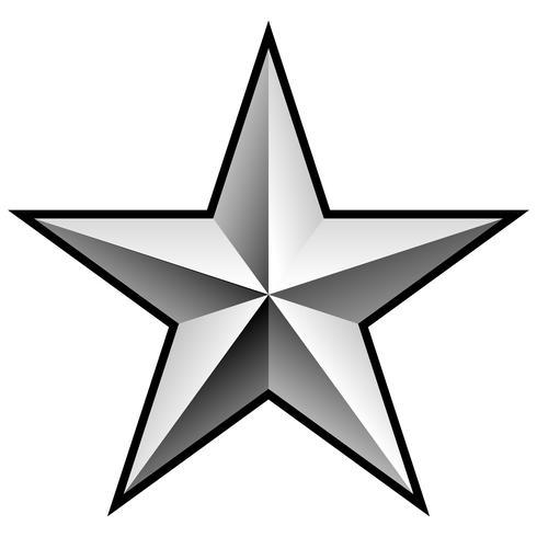 Brillante estrella de cromo plateado ilustración vectorial