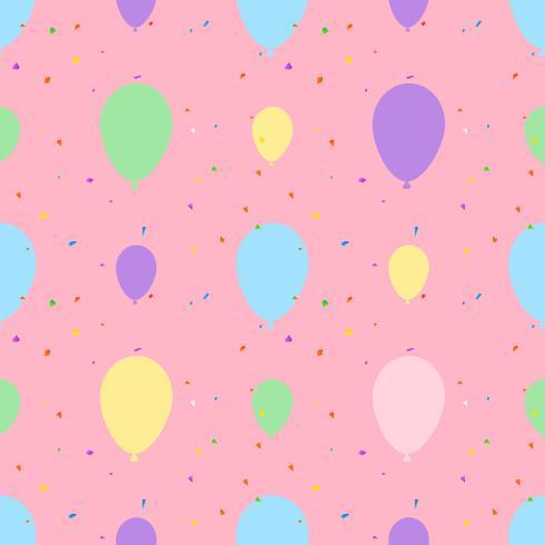 Patrón sin fisuras de globo Ilustración del vector en fondo rosado. Pastel de globos. Diseño para textil, papel pintado, tela.