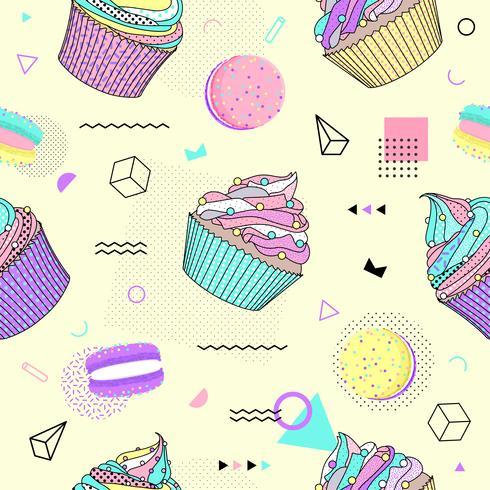 Modello senza cuciture di Memphis con cupcake e forme geometriche diverse in stile anni '80 -'90. Illustrazione vettoriale