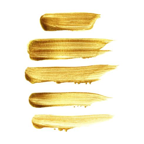 Gold brush stroke paint set isolated on white background