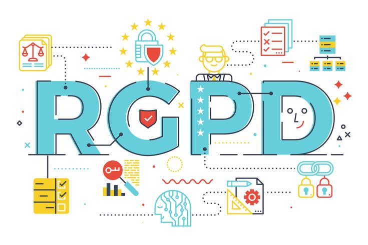 Ilustração de conceito de palavra Europeia GDPR (regulamento de proteção de dados gerais) em abreviatura em espanhol (RGPD)