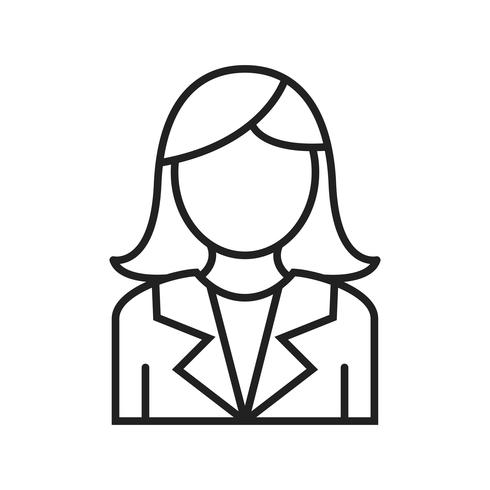 Mujer de negocios línea icono negro