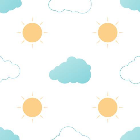 Modèle sans couture avec nuages et soleil sur fond blanc. Texture répétée de vecteur.