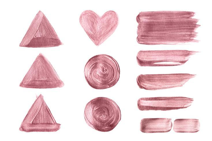 Sistema dibujado mano del cepillo del oro de Rose aislado en el fondo blanco