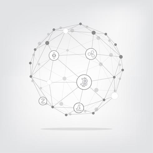 Abstrakt Cryptocurrency blockchain teknologi Bakgrund. Geomatisk punkt och linje vektor illustration.