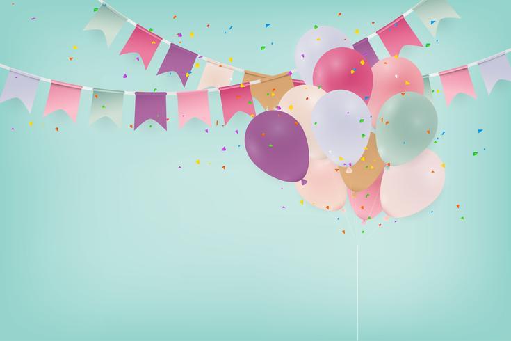 Fondo de celebración de aniversario o tarjeta de feliz cumpleaños con globos. Ilustración. vector