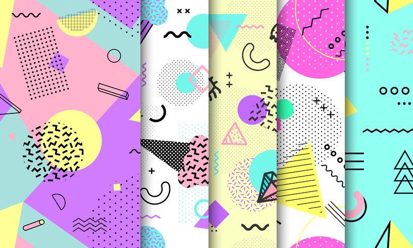 Coleção de padrão sem emenda de Memphis. Formas diferentes sem costura padrão geométrico moda estilo dos anos 80-90. Conjunto de fundo pastel de Memphis. Ilustração abstrata do vetor no projeto mínimo.