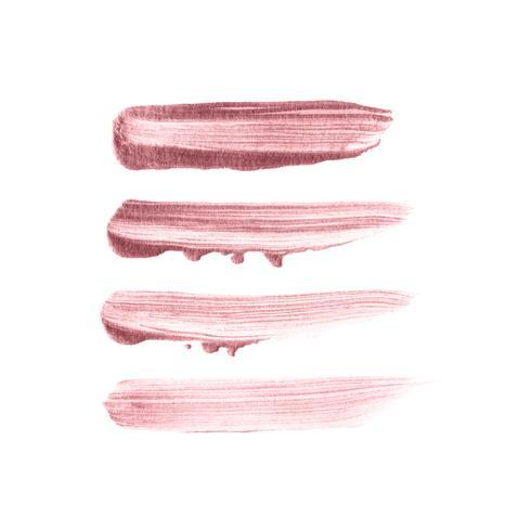 Tratto di pennello oro rosa disegnato a mano. Vettore della toppa dell'acquerello nel colore rosa dell'oro isolato su fondo bianco.