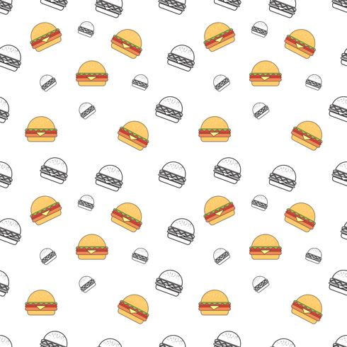 Seamless pattern with burger on a white background. Vector repeating texture.