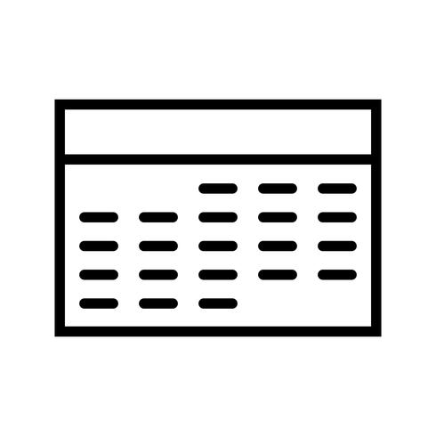 Icono de línea de calendario negro