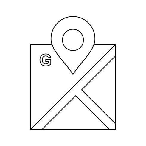 Lijn zwart pictogram kaart