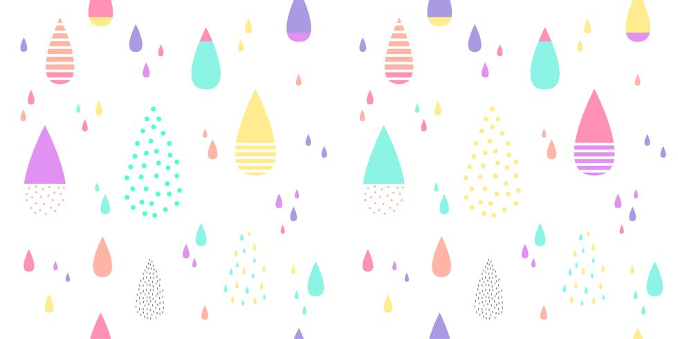 Cute Raining Pattern Seamless Colorful Abstract Water Drop