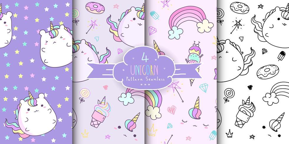 Set of cute hand drawn unicorn seamless pattern. Horizontal kawaii unicorn background for kid. Baby pattern collection.