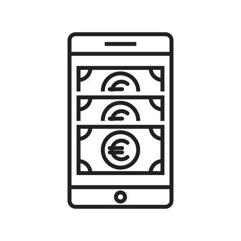 Icono de línea de teléfono celular negro