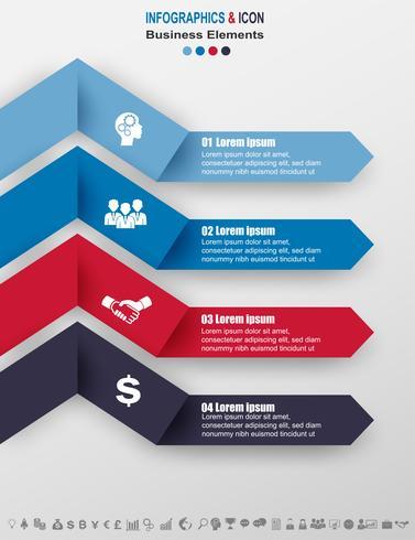 Plantilla de gráfico de proceso de línea de negocio de infografía. Los iconos de marketing se pueden utilizar para el diseño del flujo de trabajo, informe,. Concepto de negocio con 4 opciones, pasos o procesos. Vector