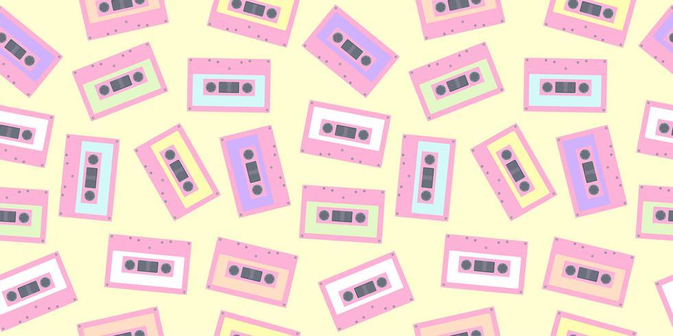 Patrón de cassette de cinta transparente en color pastel. Lindo fondo de cinta colorida para impresión de tela, papel tapiz, textil, papel de regalo, banner de cartel de fiesta y diseño de tarjeta.