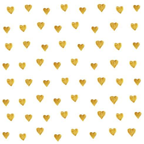 Inconsútil de oro del modelo del corazón aislado en el fondo blanco creado por vector. Estilo retro con brillo de corazón dorado para papel tapiz, estampados de tela, álbum de recortes, textil y fondo de banner web.