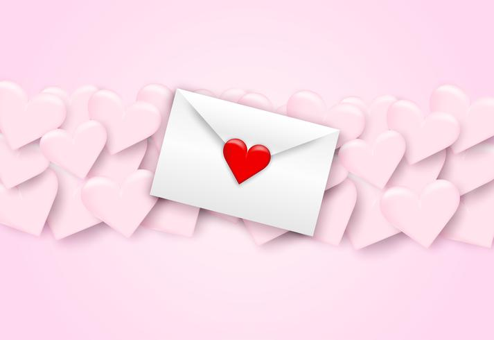 Heureuse Saint Valentin lettres d'amour, enveloppe blanche et coeur rouge sur fond rose, style art papier. Vecteur.
