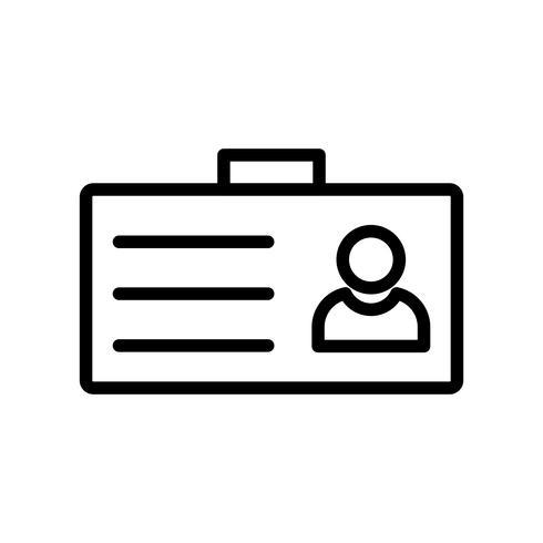 Tarjeta de identificación línea icono negro vector