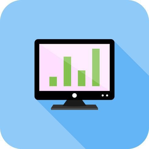 Analítica en pantalla Icono de sombra larga plana vector