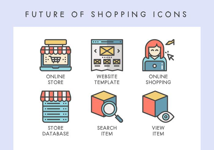 Futuro de los iconos de compras vector