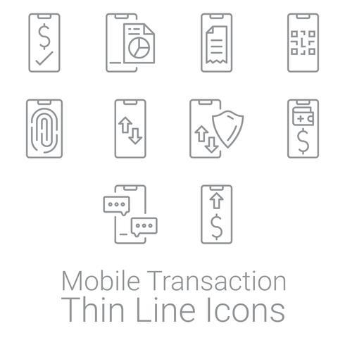 Satz Smartphone-Transaktions- und -tätigkeitsikonen. Persönliche und geschäftliche Finanzen Icons.