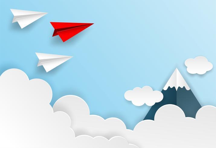 Leadership aziendale, concetto finanziario. La direzione dell'aereo di carta rossa al cielo va all'obiettivo di successo. stile di arte cartacea. idea creativa. vettore.