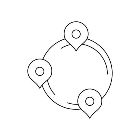 Icono de línea de ruta negro vector