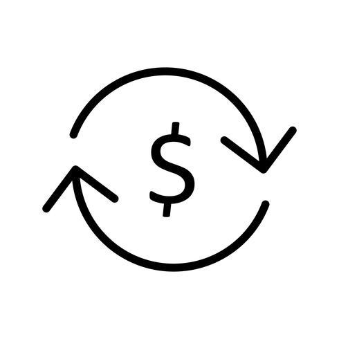Ícone de linha preta de troca de moeda