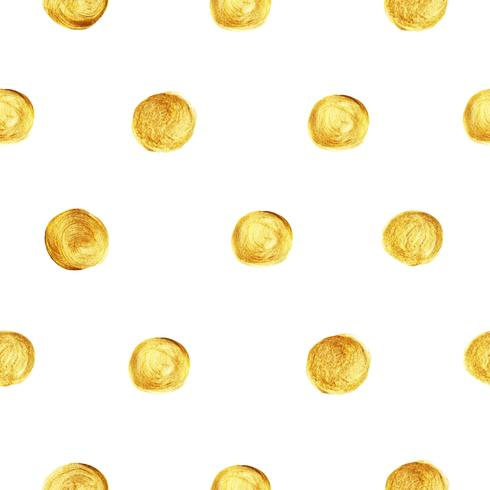 Golden polka dot pattern seamless isolated on white background created by vector. Gold glitter retro style for wallpaper, fabric prints, scrapbook, textile and web banner background.