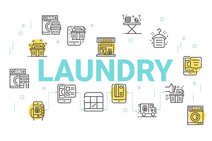 Laundry concept background, Thin line icons set for wallpaper and background.