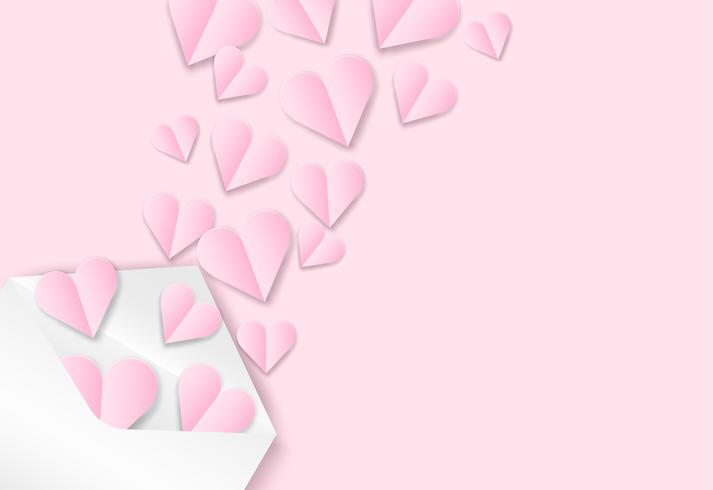 Happy Valentine's day background . Design with love heart on pink background, paper art style . Vector.