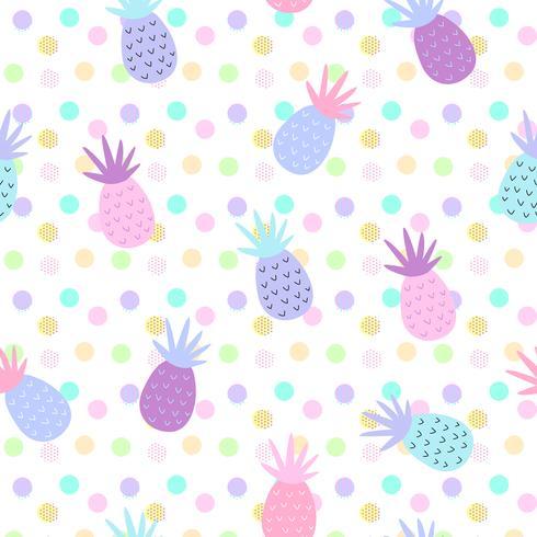 Patrones sin costuras de piña en el fondo de puntos para la impresión y diseño de banners de verano, papel tapiz y estampado de tejidos. Ilustración vectorial