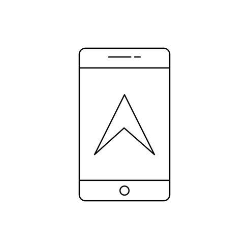 Ícone de linha preta de GPS móvel