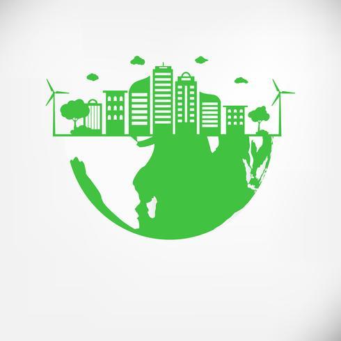 Salva il concetto di mondo pianeta terra. Concetto di giornata mondiale dell'ambiente. città urbana moderna verde sul globo verde, sicuro il mondo, concetto naturale ed ecologia