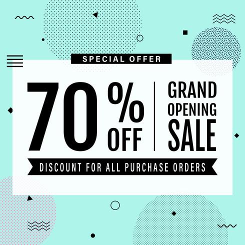 Promotion grand opening banner design template. Memphis sale banner. Social media banner with text on mint green background in minimal design.