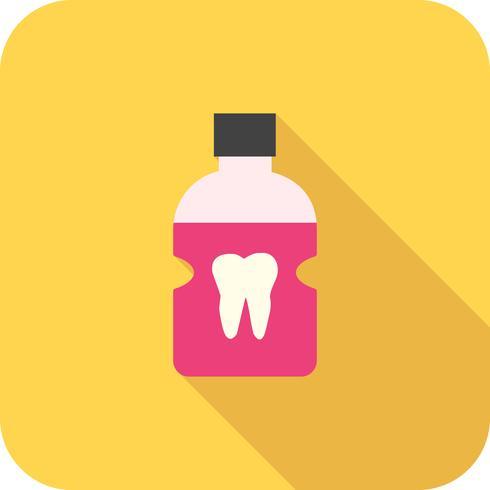 Icona di ombra lunga piatta del dentista