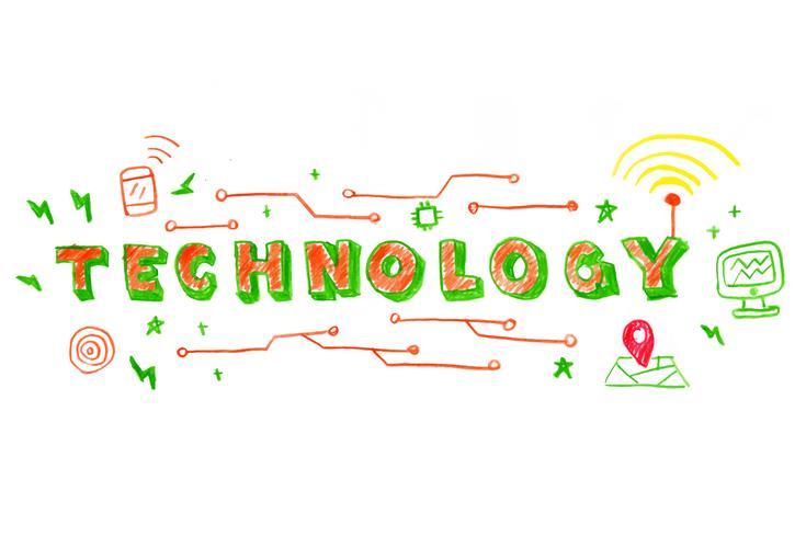 Ilustración de la palabra tecnología vector
