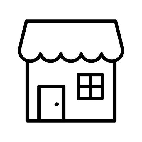 icono de linea de tienda negro vector
