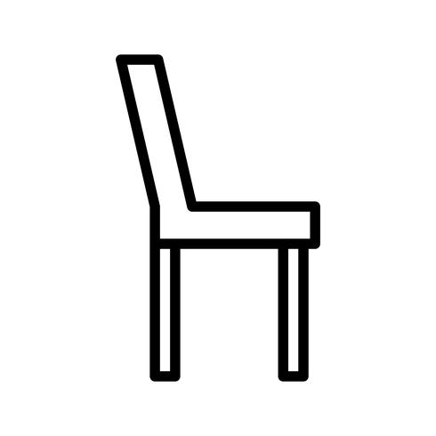 Icono de línea de silla negro vector
